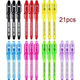 Magic Invisible Ink Pen with UV Led Light Upgraded Invisible Marker Secret Message for Birthday Party Favor Gifts, 7 Colors (21)