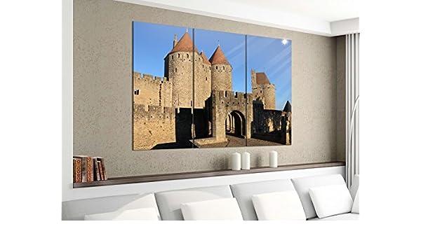 Lienzo 3 piezas 120 cmx100 cm Tor Castillo Medieval Candado Torre Carcassonne Francia imágenes Impresión sobre lienzo imagen de impresión mehrteilig Madera 9ya3516, 3Tlg 120x100cm (3x 40x100cm): Amazon.es: Hogar