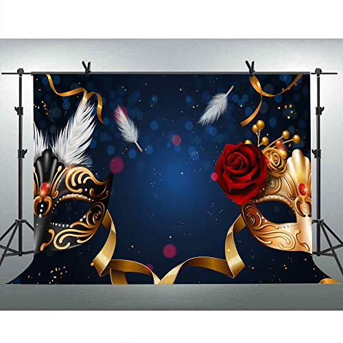 FLASIY Masquerade Theme Party Photography Backdrops 10x7ft Mask Rose Flower Photo Background for Event Birthday Studio Photo Video Shoot Props GEAY023 -