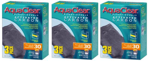 Aquaclear Activated Carbon Insert, 30-Gallon Aquariums, 3-Pack (150 Carbon Insert)