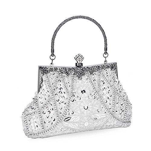 - UBORSE Women's Vintage Beaded Sequined Evening Bag Wedding Party Handbag Clutch Purse Silver