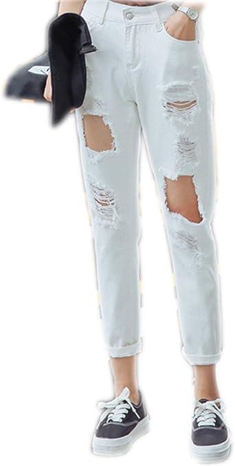 Amazon Com Pantalon Outfits Boyfriend Para Mujer Denim Jeans Stretch Loose Pantalones Con Rotura De Agujeros W31 Blanco Clothing