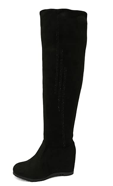 ae58da41143 Ladies Black Soft Stretch Over The Knee High Ruched Wedge Boots Shoes Sizes  3-8