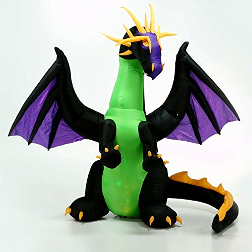 Halloween Inflatable Led Lighted 9' Giant Animated Purple Dragon with Green Projection Kaleidoscope Chest Gemmy Outdoor Yarde Prop (Giant Halloween Animatronics)