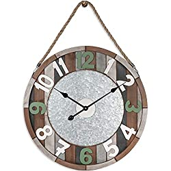 PUMERIT Wall Clock Vintage Coastal Wall Décor 23.6 Inch Handmade Silent Hemp Rope Hang Wood Clock for Living Room Hotel Restaurant Decoration