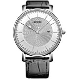 BUREI Unisex Ultra Thin Big Face Quartz Watch with Calfskin Band and Stainless Steel Case Date Window