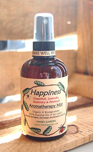 HAPPINESS Aromatherapy Body & Room Mist Spray - with Essential Oils of Lavender, Grapefruit, Rosemary & Patchouli - 4 oz - Natural ECO FRIENDLY, Vegan, Organic, Biodegradable, Non GMO (Happiness Mist)