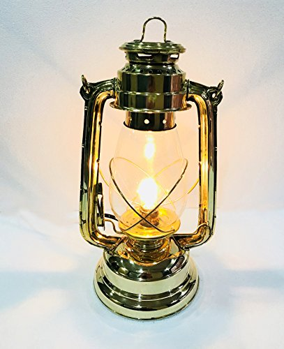 Marine Nautical Store Electric Vintage Stable Shiny Brass Lantern Lamp with Blown Glass Chimney 13'' by Marine Nautical Store