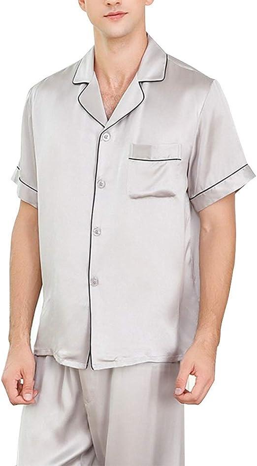 HONGNA Conjunto de Pijamas for Hombres 100% Tela de Seda Camisa de Color sólido Pantalones de Manga Corta 2 Juegos de Ropa Informal for el hogar (Color : Gray, Size : M): Amazon.es: Hogar