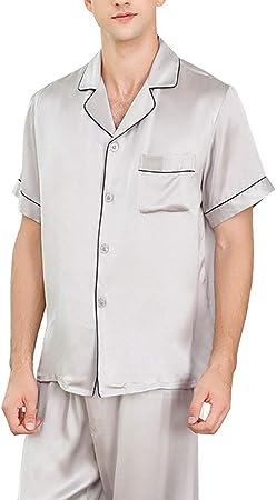 HONGNA Conjunto De Pijamas For Hombre, Camisa Gris, Pantalones De Manga Corta, 2 Juegos De 100% Tejido De Seda, Traje Casual De Servicio En El Hogar (Color : Gray, Size : XL): Amazon.es: Hogar