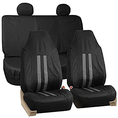 FH GROUP FH-FB112114 Full Set Waterproof Oxford Car Seat Covers Gray / Black Color -Fit Most Car, Truck, Suv, or Van