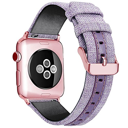 vovi Replacement Purple Band for Apple Watch Band 42mm 38mm Rubber Bracelet Watchband Canvas Strap With Buckle Black Strap For Girlfriend iWatch Series 3/2/1 Wrist Watch Belt For Women Girl