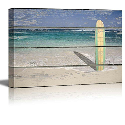 Relaxing Beach Scene with a Surf Board Standing in the Sand on a Rustic Wood Background