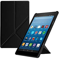 """Fintie Origami Case for All-New Fire HD 8 2017 / Fire HD 8 2016 - Slim-Fit Multi-Angle Stand Cover with Auto Wake / Sleep for Amazon Fire HD 8 (7th Gen, 2017 / 6th Gen, 2016) 8"""" Tablet, Black"""