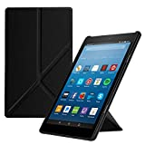 Fintie Origami Case for All-New Amazon Fire HD 8 (7th and 8th Generation Tablets, 2017 and 2018 Releases) - Slim-Fit Multi-Angle Stand Cover with Auto Wake/Sleep, Black