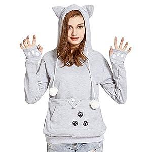 VOGRYE Womens Hoodies Pet Holder Cat Dog Kangaroo Pouch Carriers Pullover Sweatshirts hoodies