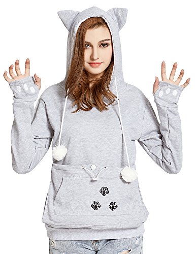 VOGRYE Womens Hoodies Pet Holder Cat Dog Kangaroo Pouch Carriers Pullover Sweatshirts hoodies (Medium )