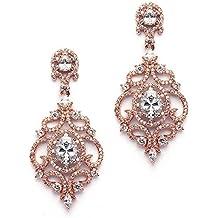 Mariell Victorian Scrolls Cubic Zirconia Wedding Bridal or Prom Chandelier Dangle Earrings