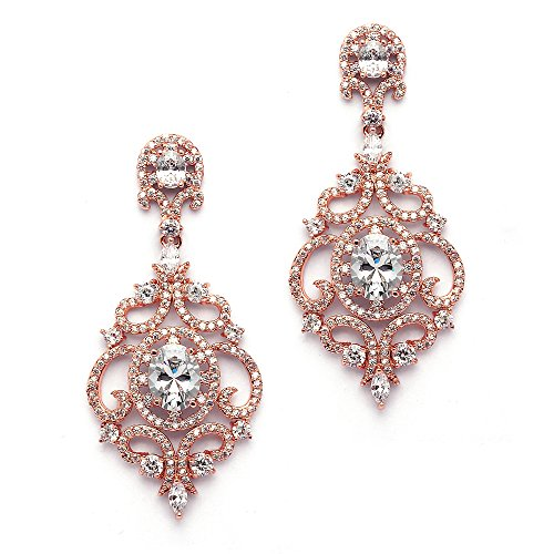 Mariell Victorian Scrolls 14k Rose Gold Plated Cubic Zirconia Wedding or Evening Chandelier Earrings (Earrings Dangle Jewelry Gold 14kt)