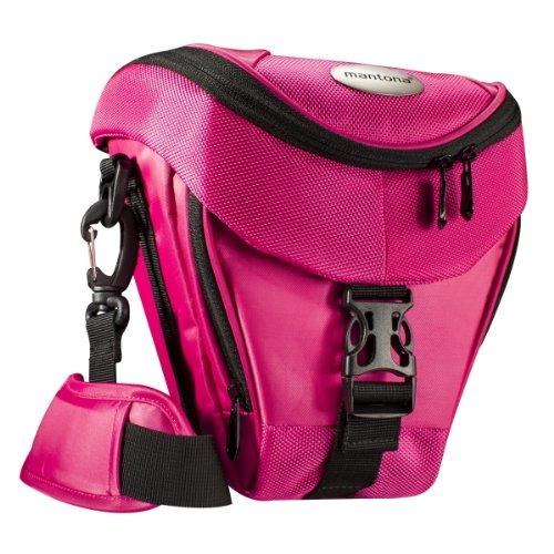 Mantona Colt Kameratasche (Universaltasche inkl. Schnellzugriff, Staubschutz, Tragegurt und Zubehörfach, geeignet für DSLR- und Systemkameras) pink