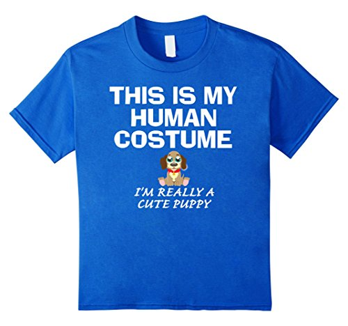 Kids Cute Puppy This Is My Human Costume Halloween Funny T-Shirt 12 Royal Blue