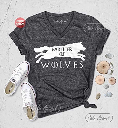 Mother of Wolves Shirt, Wolf Lover T-Shirts, GOT T-Shirt, Women Relaxed Fit V-Neck Shirt, Mother's Day Gift, Ladies Summer Tanks ()