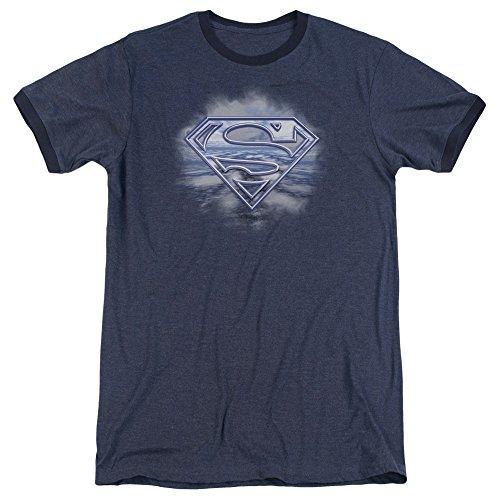 Superman Freedom of Flight Unisex Adult Ringer T Shirt for Men and Women, Small Navy