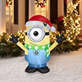 Christmas Inflatable Minion Carl W/ Santa Hat & Scarf Prop Decoration By Gemmy (1)