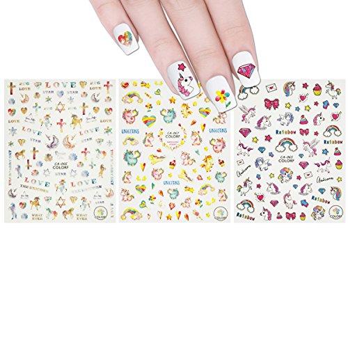 ALLYDREW 3 Sheets Dreamy Unicorns Nail Stickers Nail Art