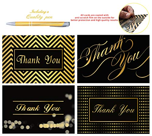 - 100 Thank You Cards By Office 247- Luxury Card Set of 4 Black & Gold Designs. Thank You Cards Bulk with Envelopes & Stickers - Blank Inside, 4