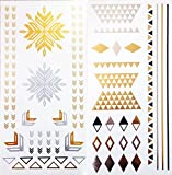 Temporary Tattoos-EFT910, Gold, Silver, Metallic Tattoos| Custom Temporary Tattoos| Paper Tattoos, ♥ Temporary Tattoos for women| Temporary Tattoos Paper| Temporary Tattoos for kids| Temporary Tattoos for men-♥ Beautiful Designs- Two Sheets for the pr