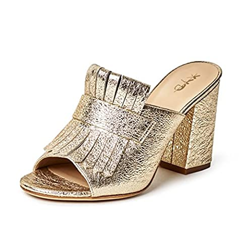 XYD Cocktail Party Mule Shoes Women High Heel Slingbacks Open Toe Slip on Summer Sandals Size 8 Gold