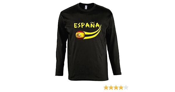 Supportershop Manga Larga Camiseta LS Hombre España Fútbol Negro: Amazon.es: Deportes y aire libre