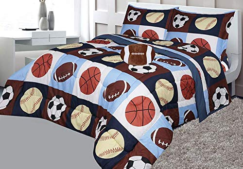 5 Piece Twin Panel - Golden Linens Full Size 8 Pieces Printed Navy Blue, Sky Blue, Brown, Orange Kids Sports Basketball Football Baseball Comforter/ Coverlet / Bed in Bag Set with Decorative Cushion Toy Pillow # 02- 8 Pcs