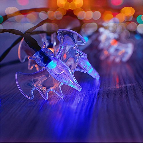 HomJo Solar Light String 30LED Bat Lantern Outdoor Christmas Day Garden decorative Lights Halloween String Lights , 1