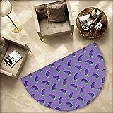 Eggplant Semicircular Cushion Appetizing Eggplants in Order Symmetrical Vegan Foods Healthy Fresh Ingredients Entry Door Mat H 55.1'' xD 82.6'' Purple Violet