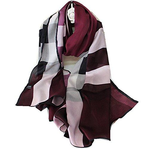 Silk Shawl Scarf New (Novels-wear new 100%mulberry Silk Scarf Wrap Shawl Check Scarf Wine Red)