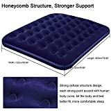 Anpress Inflatable Queen Size Flocked Air Bed Camping Relax Airbed Mattress with Pump Guest Sleepover Comfort Practical Portable Easy, Blue
