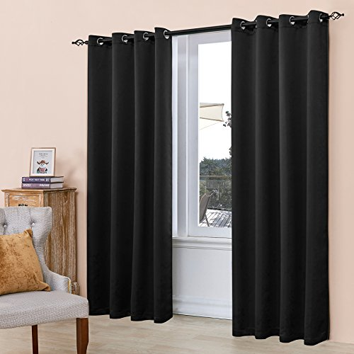 Subrtex Room Thermal Insulated Window Treatment Grommet Blackout Window Curtains/Drapes(52''x84'',1 Panel,Black) - 84' Window Panel