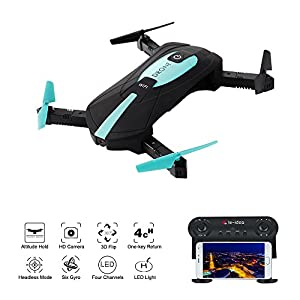 RC Drone With Camera,IDEA6 Axis Gyro Quadcopter with WIFI 720P HD Camera Foldable,2.4GHz APP Control,Altitude Hold, Headless Mode Function Seflie Drone from Le-idea