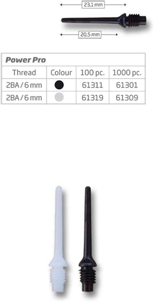 1000 Dartspitzen Shorties 2 BA kleines Gewinde  in GELB 4,5mm