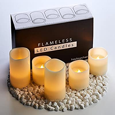"Hayley Cherie - Real Wax Flameless Candles with Timer (Set of 5) - LED Candles 5"" and 3"" tall - Flickering Amber Flame - Battery Operated Pillar Candles – Large Unscented"