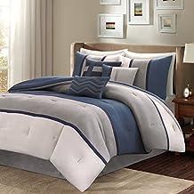 Madison Park MP10-1317 Palisades 7Piece Comforter Set King , Blue, King,Blue,King