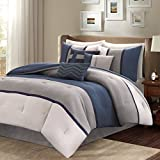 Madison Park MP10-1318 Palisades 7 Piece Comforter Set, California King, Blue