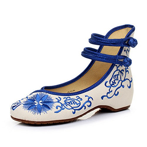 Light In The Box Shoes (Embroidered Chinese Style Embroidery Flats F Women's Shoes Heels Red White Black (B(M) US6/EU36/UK4/CN36 Medium, Blue-2))