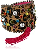 "Betsey Johnson ""St. Barts"" Crystal Leopard Wrap Bracelet, 7.5"""