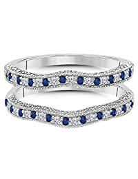 14K White Gold Over Alloy 0.50 ct Round-Cut White CZ White CZ Simulated Diamond & Lab Created Blue Sapphire Ring Enhancer Solitaire Ring Guard