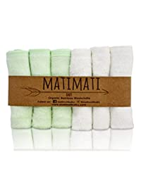 "Matimati Bamboo Baby Washcloths (6-pack) - Premium Extra Soft & Absorbent Towels For Baby's Sensitive Skin - Perfect 10""x10"" Reusable Wipes - Excellent Baby Shower / Registry Gift BOBEBE Online Baby Store From New York to Miami and Los Angeles"