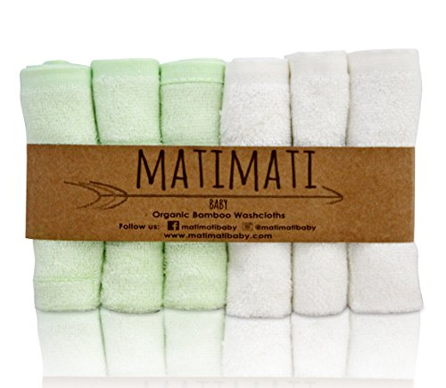 "Matimati Bamboo Baby Washcloths (6-pack) - Premium Extra Soft & Absorbent Towels For Baby's Sensitive Skin - Perfect 10""x10"" Reusable Wipes - Excellent Baby Shower / Registry Gift"