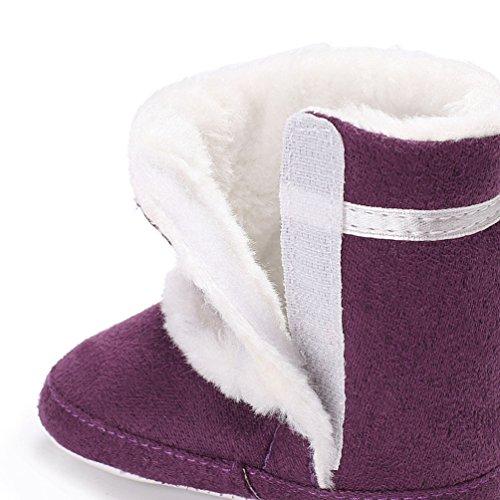 YiJee Baby Mädchen Modisch Elegant Schneestiefel Herbst und Winter Schneeflocken Kinderschuhe mit Mehr Villus Lila